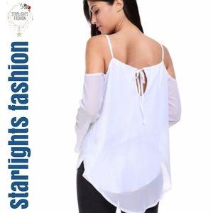 Starlights Fashion Tops - White Cold Shoulder Overlap V Neck Long Sleeve Top